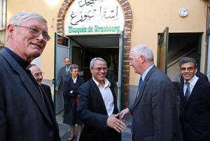 Mgr Jean-Pierre Grallet, Mohamed Latahy, linspecteur ecclésiastique luthérien Jean-Jacques Reutenauer et Driss Ayachour. (Photo DNA - Laurent Réa)