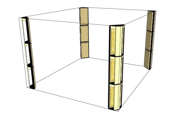 Corner bass trapping basics. Floor-to-ceiling bass traps arranged to treat wall-to-wall corners in a listening room or control room.