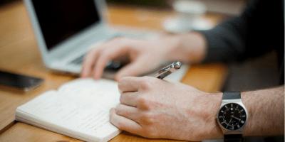 ordenador, cuaderno, firma
