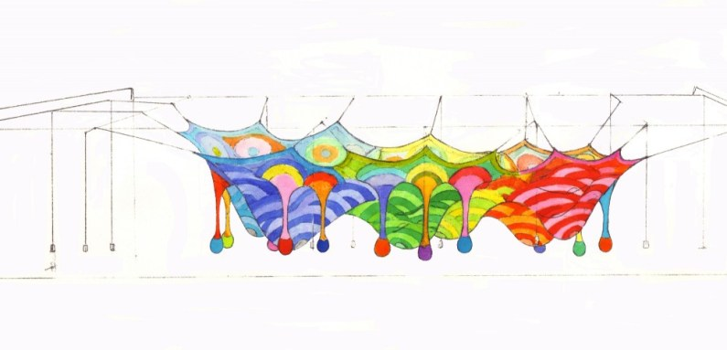 A sketch for Wonder Space II, by Toshiko Horiuchi MacAdam and Interplay, at Hakone Open Air Museum