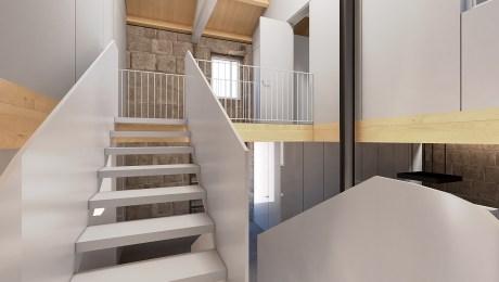 rehabilitacion-Betanzos-arquitecto-rodrigo-curras-torres-interior-escalera-acero-y-blanca-madera-claraboya-pasarela-doble-altura