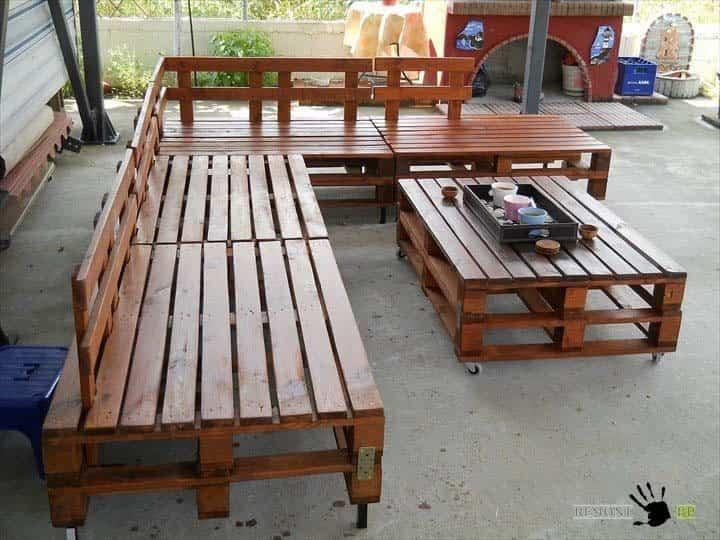 reciclar palets de madera - sala para exteriores