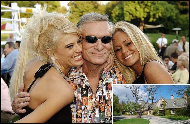 Hugh Hefner y sus 'playmates'; a la derecha, la casa que ha puesto en venta