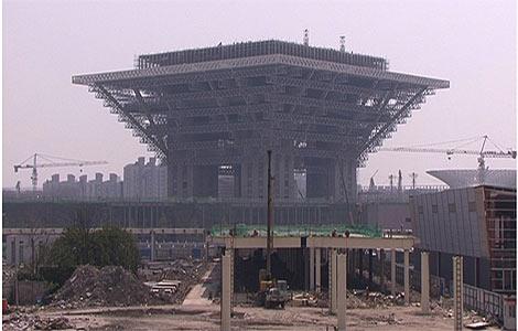 Una de las zonas en obras de la Exposición Universal de 2010.   A. P.