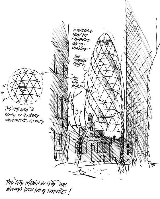 """Boceto de la que en su día era la sede londinense de la Swiss Reinsurance Company, el famoso """"pepino""""."""