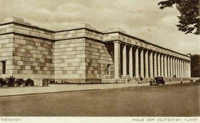 "The Haus der Deutschen Kunst was built in 1933-37 to replace the Munich ""Glass Palace"" Art Gallery"
