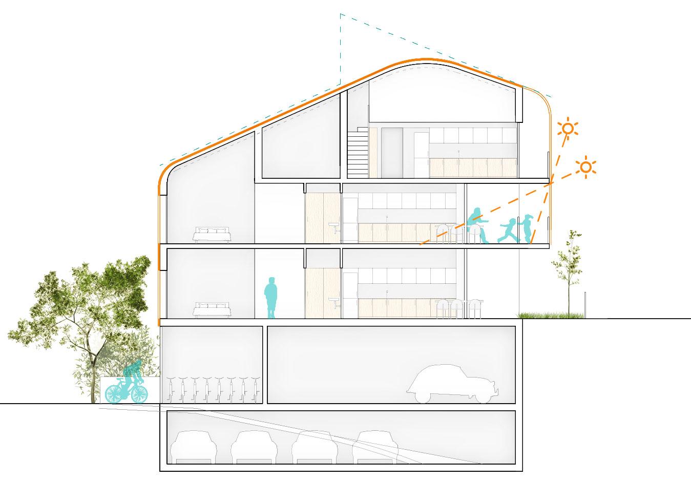 concurso vivienda protegida olesa de montserrat sostenible arquitopia sección tipo