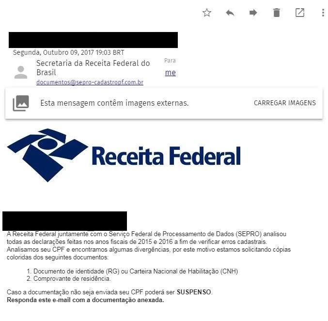 receita federal falso email