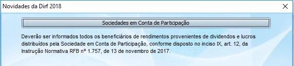 DOWNLOAD E CONFIGURAÇÕES DIRF 2018 Sociedades-Novidades-DIRF-2018