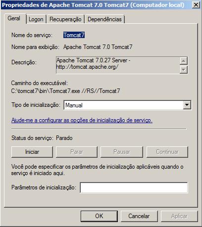 Propriedades do serviço do Tomcat no Windows