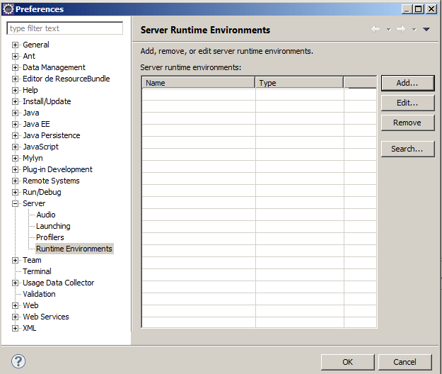 Ambiente de Execução dos servidores