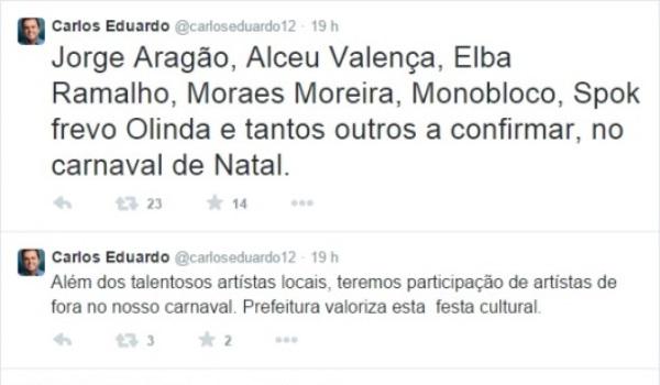Prefeito Carlos Eduardo anuncia algumas das atrações do Carnaval de Natal