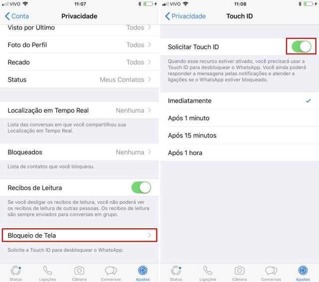 Como colocar touch id no Whatsapp Android e iOS 2