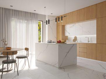 Com uma tonalidade mais clara, o porcelanato da linha Venatino, da Incepa, torna a cozinha elegante.