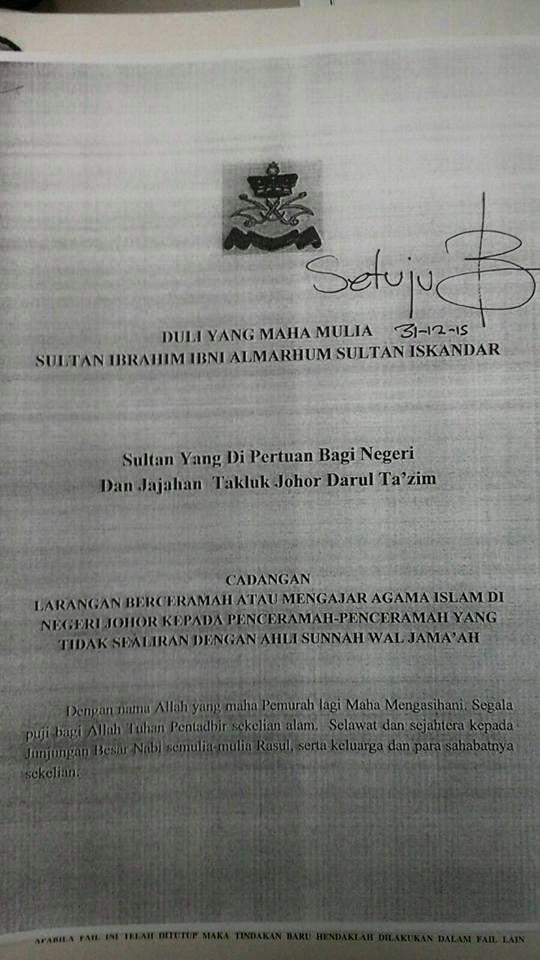 Tegas Pemerintah Negeri Johor Larang 16 Penceramah Wahabi