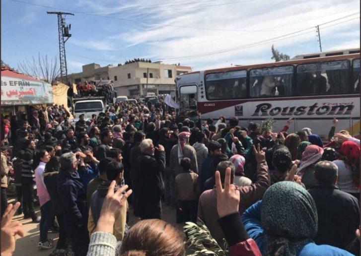 Tandai Persatuan, Konvoi Penduduk Aleppo Tiba di Afrin