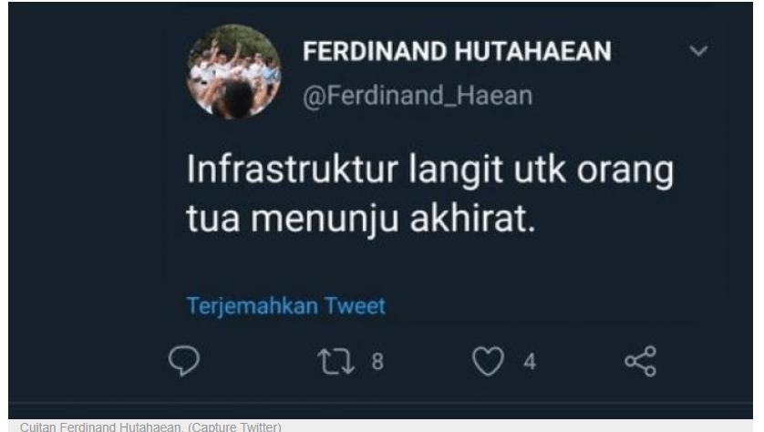 """GMI Polisikan Ferdinand Hutahean Soal Cuitan """"Infrastruktur Langit untuk Orang Tua Menuju Langit"""""""