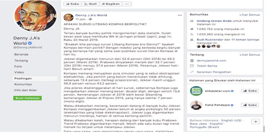 Viral Tulisan Denny JA: Apakah Survei Litbang Kompas Berpolitik?