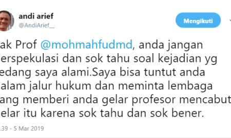 Andi Arief Kesal dan Minta Copot Gelar Profesor, Ini Respon Mahfud MD