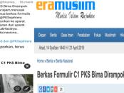 "Unggah Berita Lama, HNW Hapus Cuitan ""Berkas Formulir C1 PKS Bima Dirampok Orang Bersenjata""?"