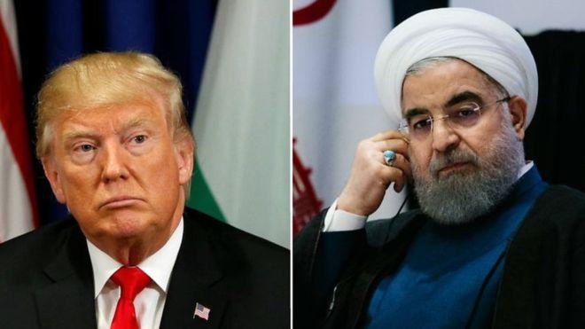 Foto Donald Trump dan Hassan Rouhani