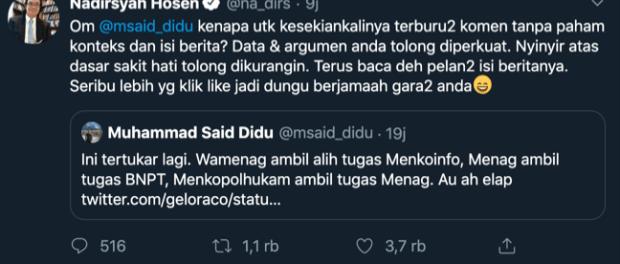 Gus Nadir, Twitter, Said Didu