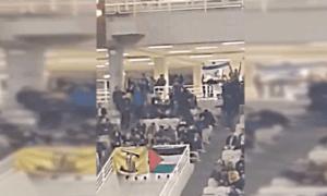 Suporter Kibarkan Bendera Hizbullah-Palestina saat Pertandingan Bola Basket Yunani vs Israel
