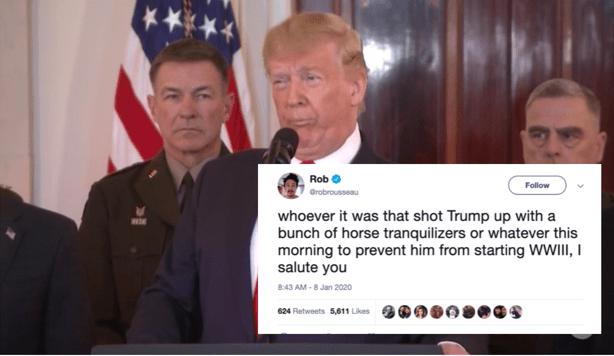 Trump 'Ngos-ngosan' Saat Pidato Tanggapi Serangan Iran, Pengamat: Mungkin Kebanyakan Obat Penenang
