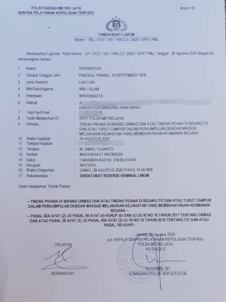 Ismail Yusanto Dilaporkan Polisi