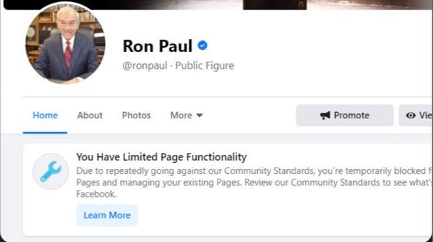 """Facebook Blokir Akun Mantan Senator AS """"Ron Paul"""""""