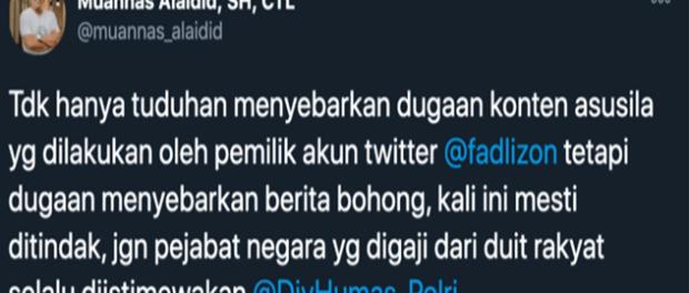 Diduga Sebar Berita Bohong dan Asusila, Muannas Aidid Desak Polisi Periksa Fadli Zon