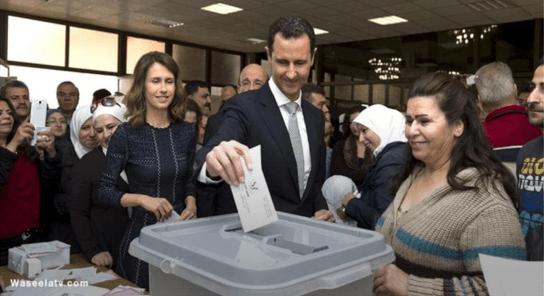 Bashar Assad dan Istri Saat Pemilu