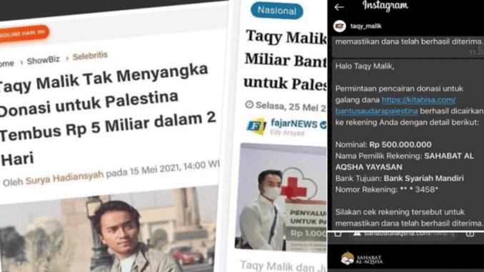 Terbongkar! Taqy Malik Sumbang Donasi Palestina kepada NGO Pro Teroris Suriah