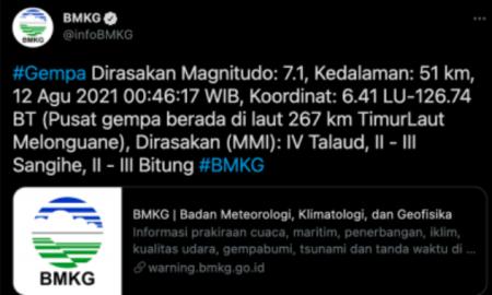 Kepulauan Talaud Sulut Diguncang Gempa Dahsyat 7,1 M