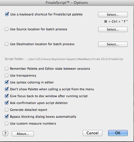 Options Screenshot Finale 2012
