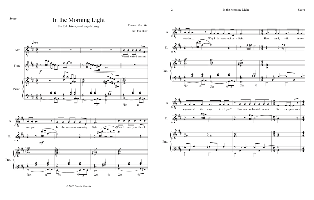 """In the Morning Light"" score image"