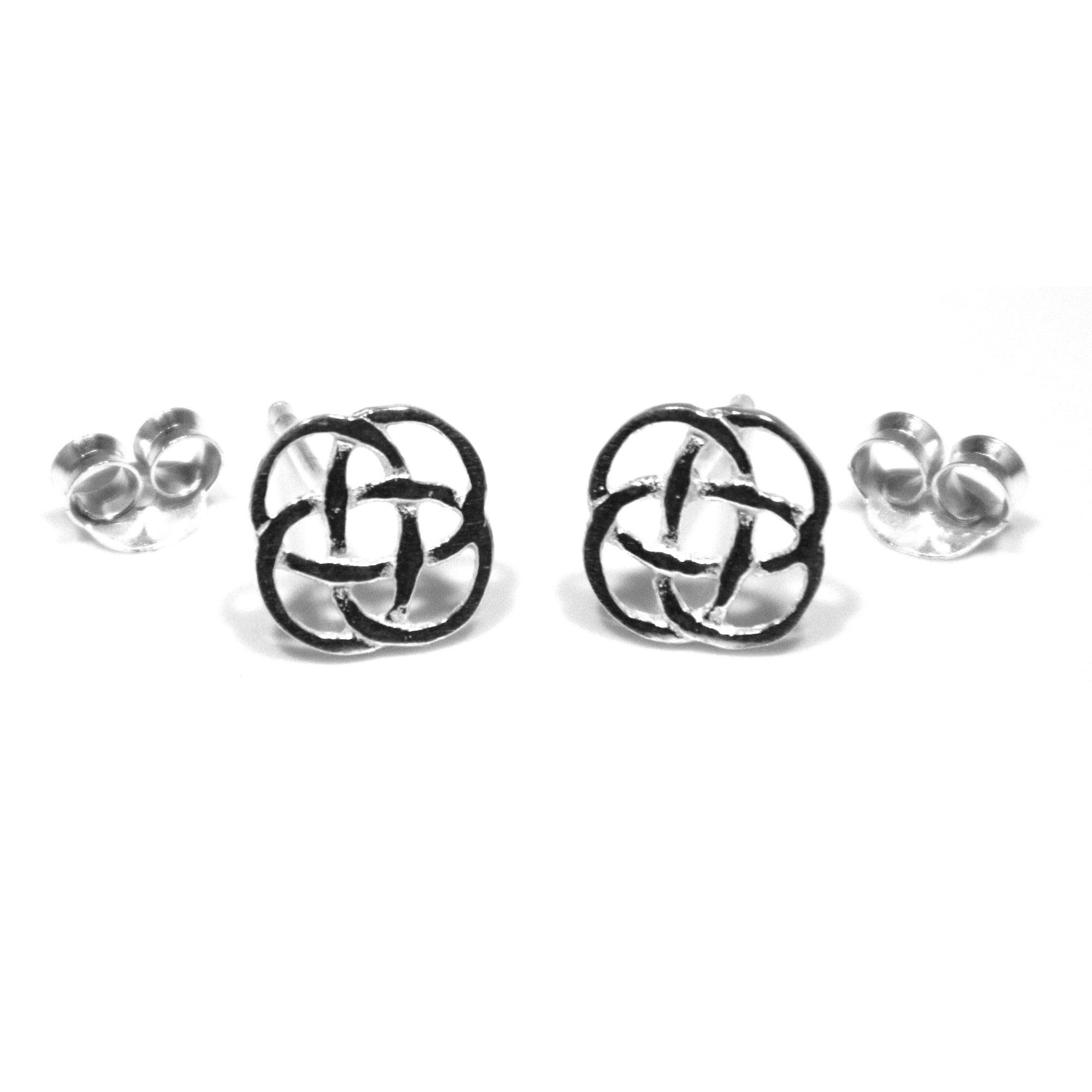 Celtic Knot Stud 8 Mm Earrings In Sterling Silver