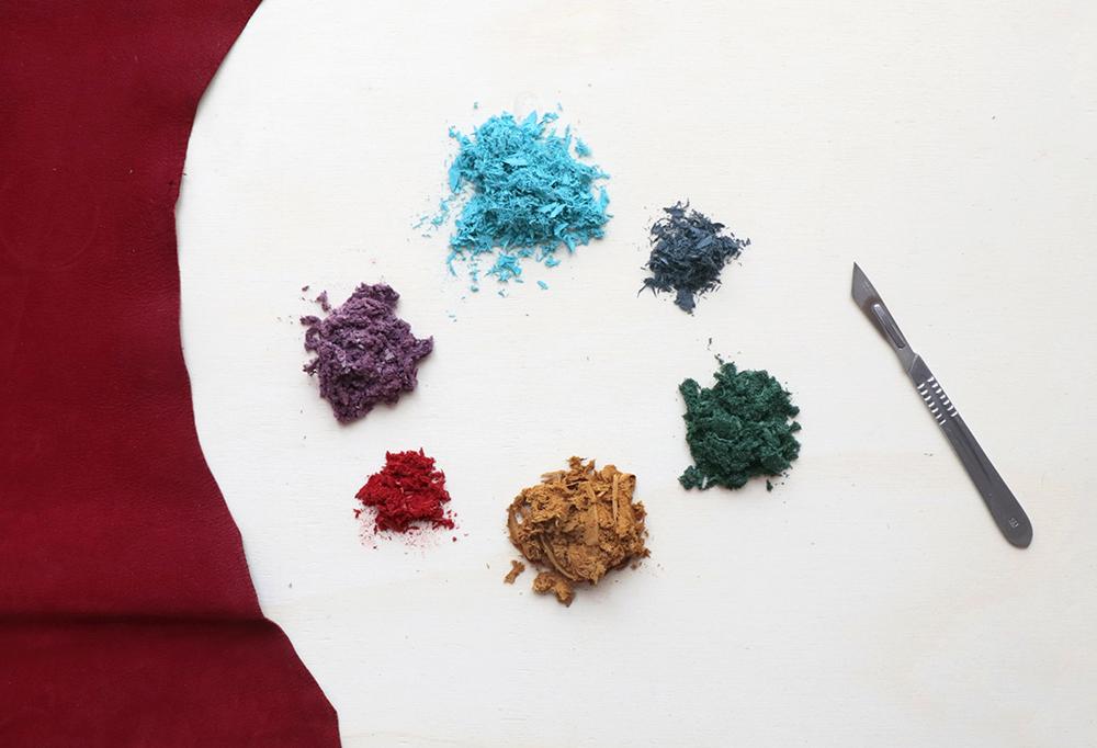 Restos de carnaza de diferentes colores resultado de chiflar la piel