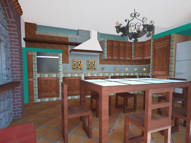 Cucina in muratura ceramiche vietri torello monocolore in