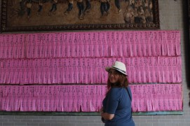 The pink ones indicates the names of those who pledges for the temple in vietnam