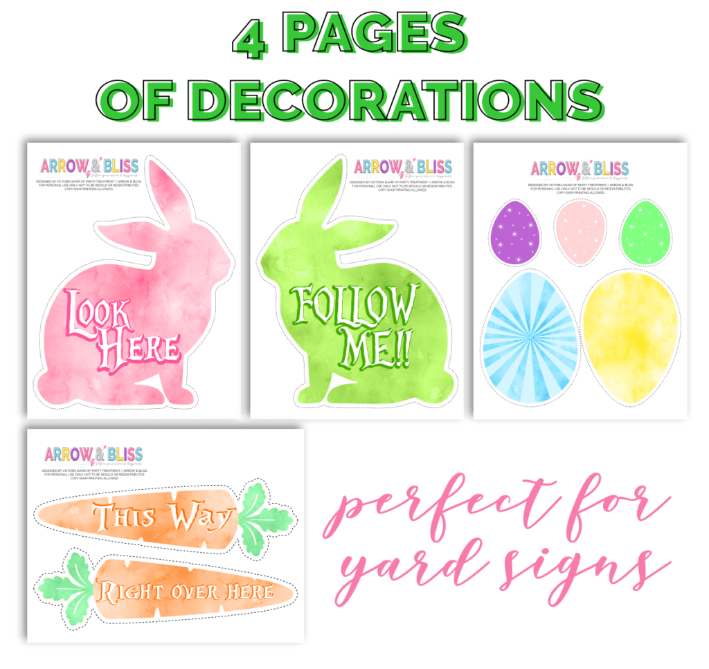 image about Printable Yard Signs called No cost Easter Egg Hunt Printable Signs or symptoms Arrow and Bliss