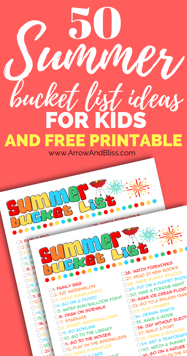 Grab this free printable of 50 summer bucket list ideas for kids created by Victoria Shari at Arrow and Bliss.