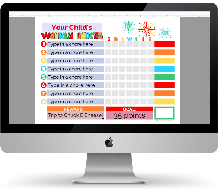 Grab your Editable Weekly Chore Chart designed by Victoria Shari at Arrow and Bliss