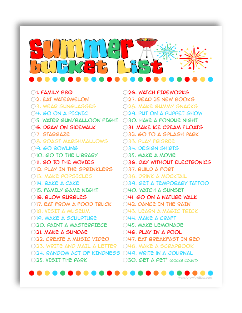 Free summer bucket list for kids printable created by Victoria Shari at Arrow and Bliss