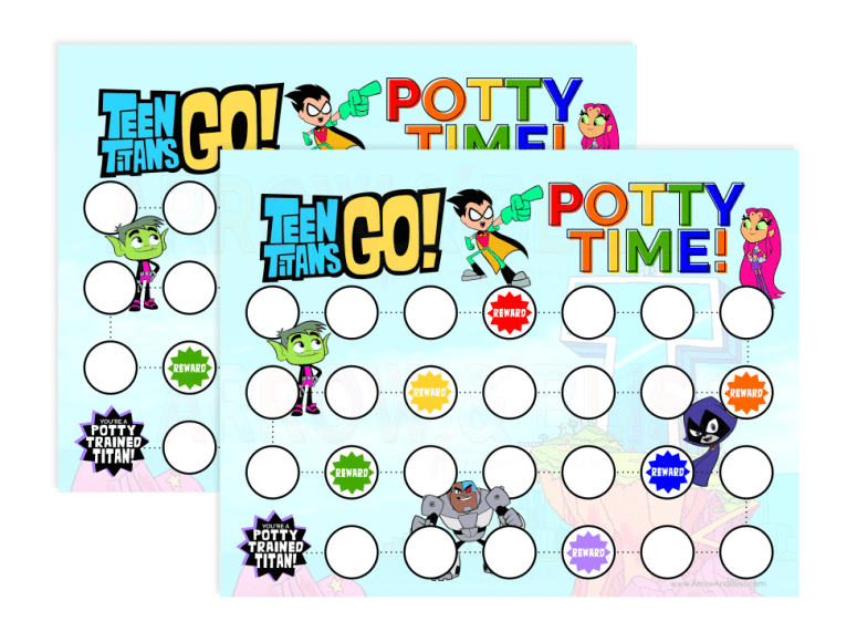 Grab this free teen titans go potty time printable
