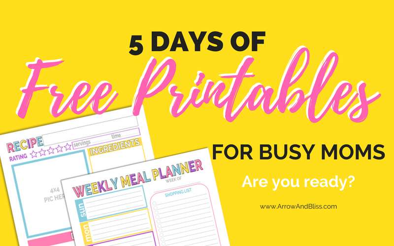 5 Days of Free Printables for Busy Moms
