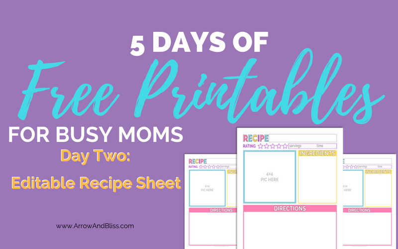5 Days of Free Printables Day 2 Editable Recipe Sheet