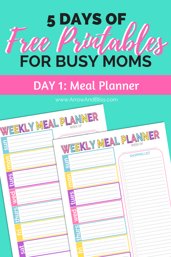 Grab this FREE Weekly Meal Planner, plus more at Arrow and Bliss.