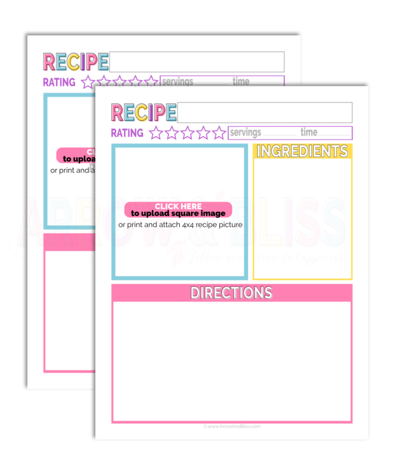 Grab this FREE editable recipe sheet designed by Victoria Shari at Arrow and Bliss