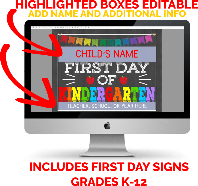 Grab a complete k-12 set of first day of school signs